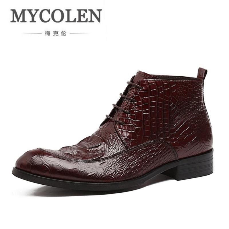MYCOLEN Boots Men Crocodile Pattern Winter Shoes New comfort Men's Boots Lace-up Men Boots Warm Genuine Leather Rubber Men Boots new men winter boots plush genuine leather men cowboy waterproof ankle shoes men snow boots warm waterproof rubber men boots page 6
