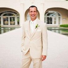 Summer Champagne Men Suits for Beach Wedding Blazers Groom Tuxedo 3Piece Coat Pants Vest Costume Homme Slim Terno Masculino