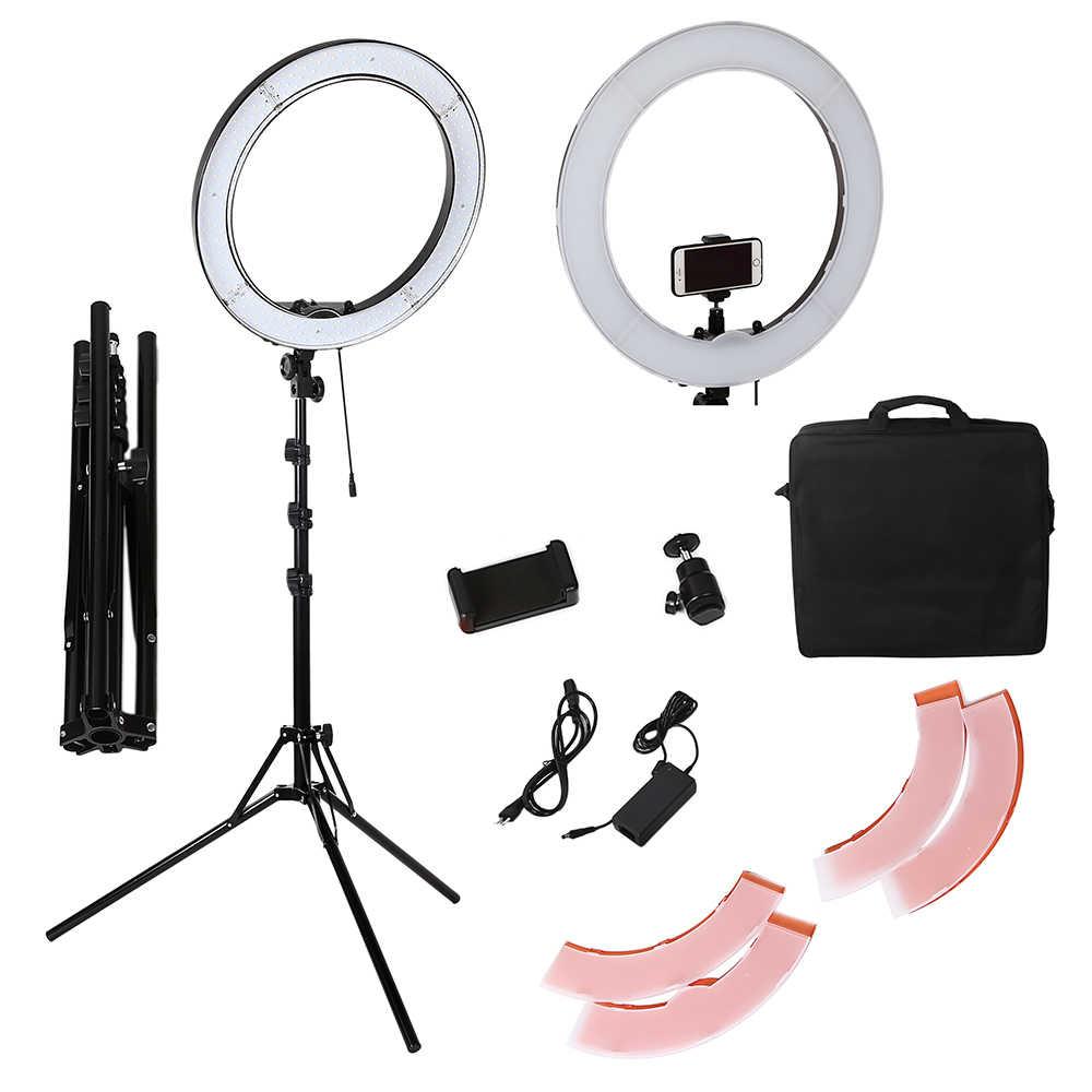 กล้อง Photo Studio โทรศัพท์วิดีโอ 18 นิ้ว 55W 240PCS LED 5500K ถ่ายภาพโคมไฟ 190 ซม.ขาตั้งกล้อง