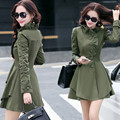 2017 Trench Coat For Women Spring Army Green Coat Single Breasted Ruffles Casaco Feminino Autumn Stand Outerwear Abrigos Mujer