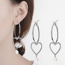 ФОТО tjp fashion heart earring jewelry big round ear loop clear crystal stones p 925 sterling silver lady earrings accessory
