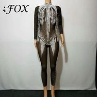 Bright Silver Rhinestones Tassel Mesh Black Jumpsuit Crystals See Through Mesh Bodysuit Women's Celebrate Luxurious Costume