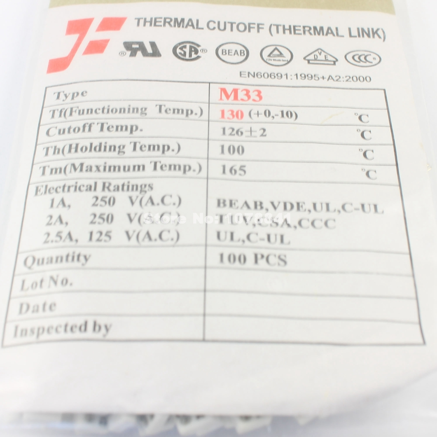 10 Pcs Per Lot M33 Cutoff Tf 130 Degree Thermal Fuse In Fuses From Ul Box Home Improvement On Alibaba Group