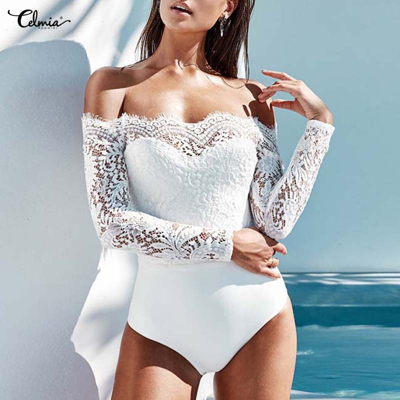 Celmia Lace Summer Romper Party Bodysuit Womens Jumpsuit Sexy 2018 Fashion Casual Elegant Off shoulder Trousers Overall Jumpsuit