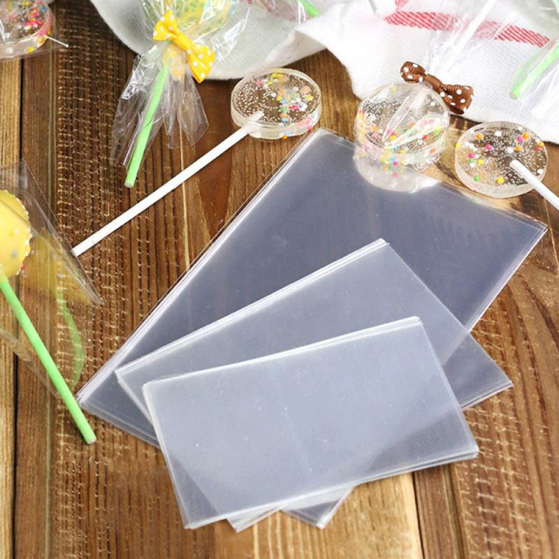 100pcs/set Transparent Open Top Small Plastic Bags For Candy Lollipop Cookie Packaging Cellophane Bag Wedding Party Opp Gift Bag