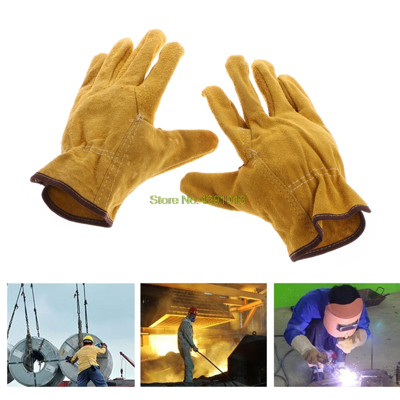 1Pair Cowhide Safety Protective Gloves Welding Welder Work Repair Wear-Resistant Drop Shipping Support