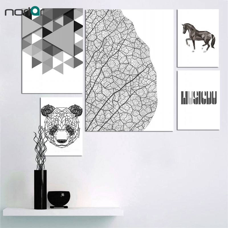 4 55 15 De Réduction Dessin Animé Polygone Feuille Cheval Minimaliste Toile Affiche Nordique Art Peinture Noir Blanc Mur Photo Imprimer Enfants