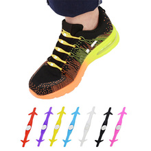 12pcs Novelty Unisex Women Men No Tie Shoelaces Elastic Silicone Shoe Lace for All Sneakers Running ShoesLaces Popular