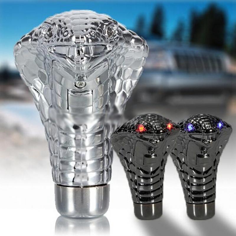 Yeni krom kırmızı mavi LED gözler araba manüel vites topuzu yılan Shifter evrensel kırmızı/mavi Led gözler