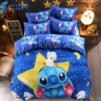 Disney stitch cartoon bedding set queen full size duvet cover sheet pillow case bed linen set