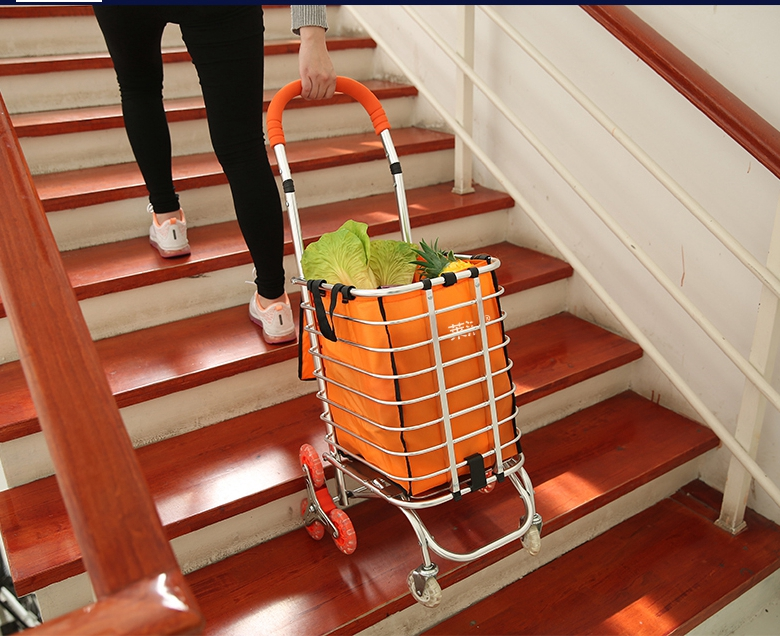 grocery shopping Cart small cart family Pull lever cart ladder folding portable ofld offloaded cart trailer Can climb the stairs