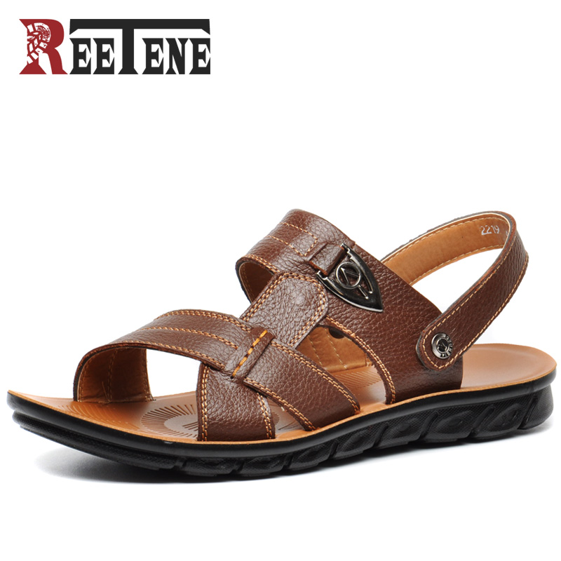 f2bdbe7e0cac9f REETENE New 2017 Sandals Men Full Grain Leather Super Skid Resistant  Waterproof Beach Summer Shoes Casual