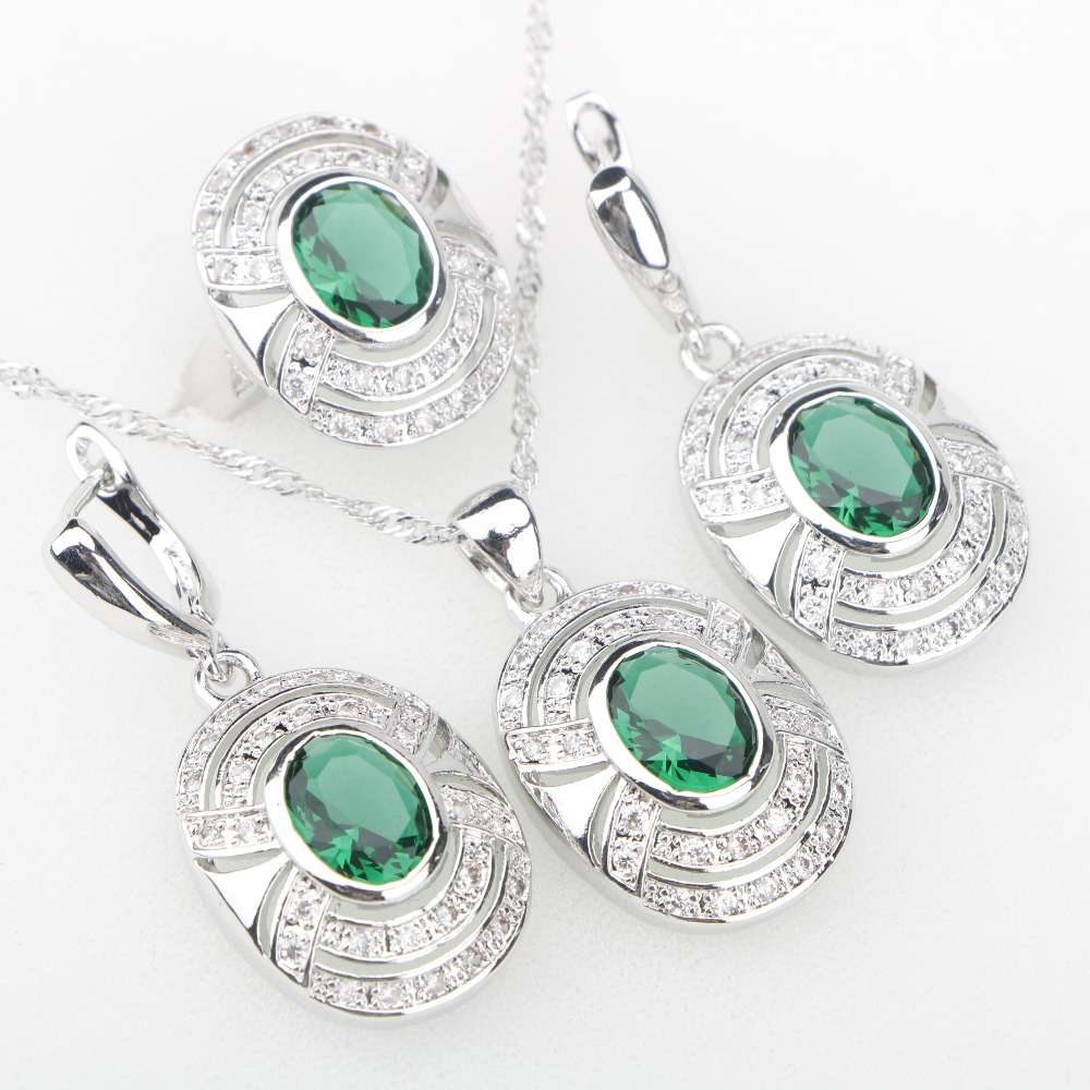 Charms 925-Jewelry-Sets Women Stones Necklace/rings Silver Cubic-Zirconia Green White