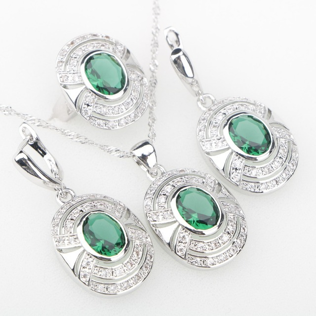 Charms Green Cubic Zirconia White Stones Silver 925 Jewelry Sets Earrings/Pendan