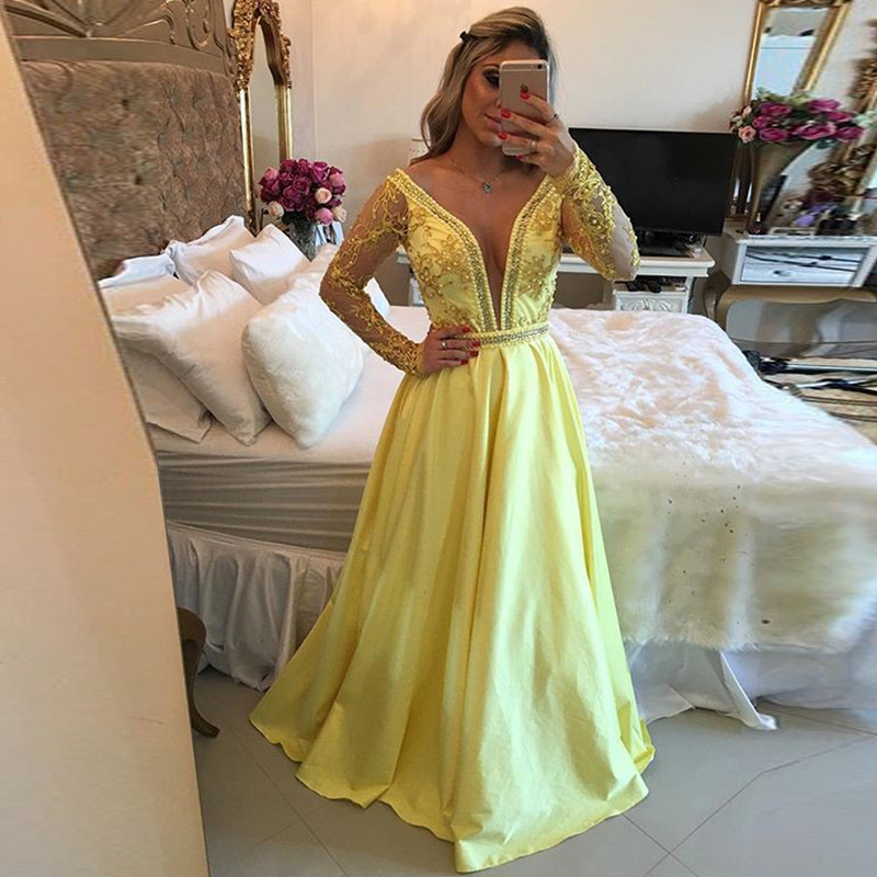 a0c31e04b6c Gorgeous 2016 New Sexy Summer Long Sleeve Yellow Beaded Lace Taffeta ...