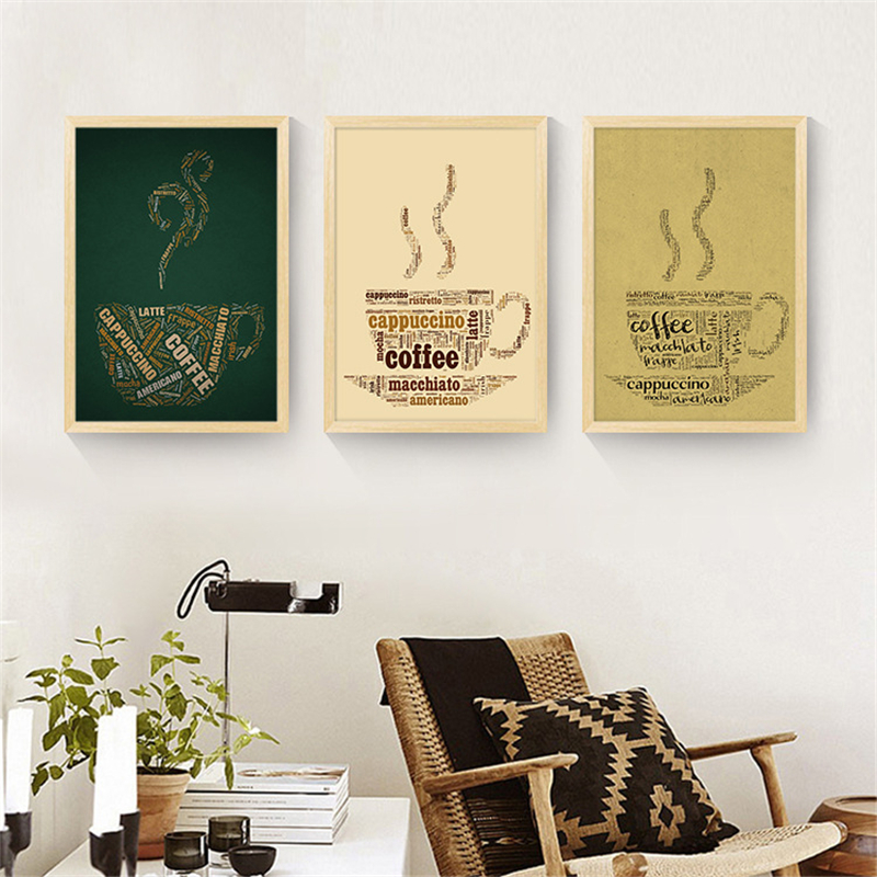 Modern French Coffee Quotes Posters Nordic Kitchen Living