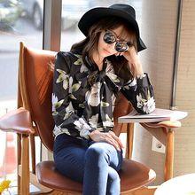 DABUWAWA Original New 2016 Brand Blusas Femininas Autumn Black Printed Bow Shirt Woman Slim Vintage Women