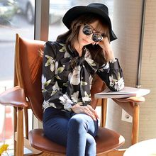 Original New 2016 Brand Blusas Femininas Autumn Black Printed Bow Shirt Woman Slim Vintage Women Blouse Wholesale