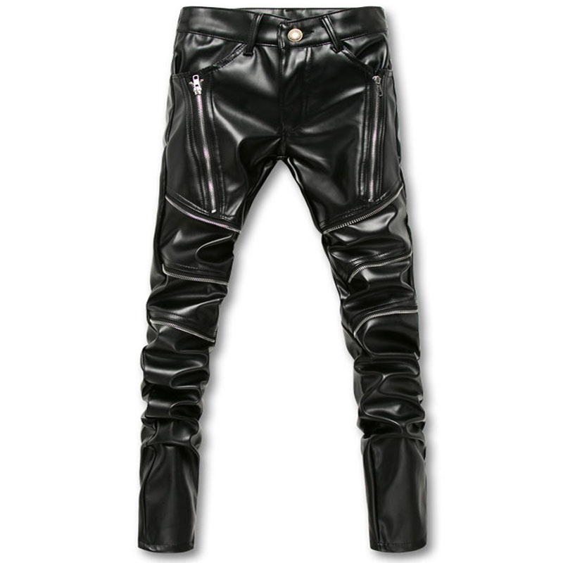 Mcikkny Fashion Personality Men Skinny Faux Leather Pants Black Motorcycle Shinny Leather Trousers Slim Fit Male Joggers Stretch