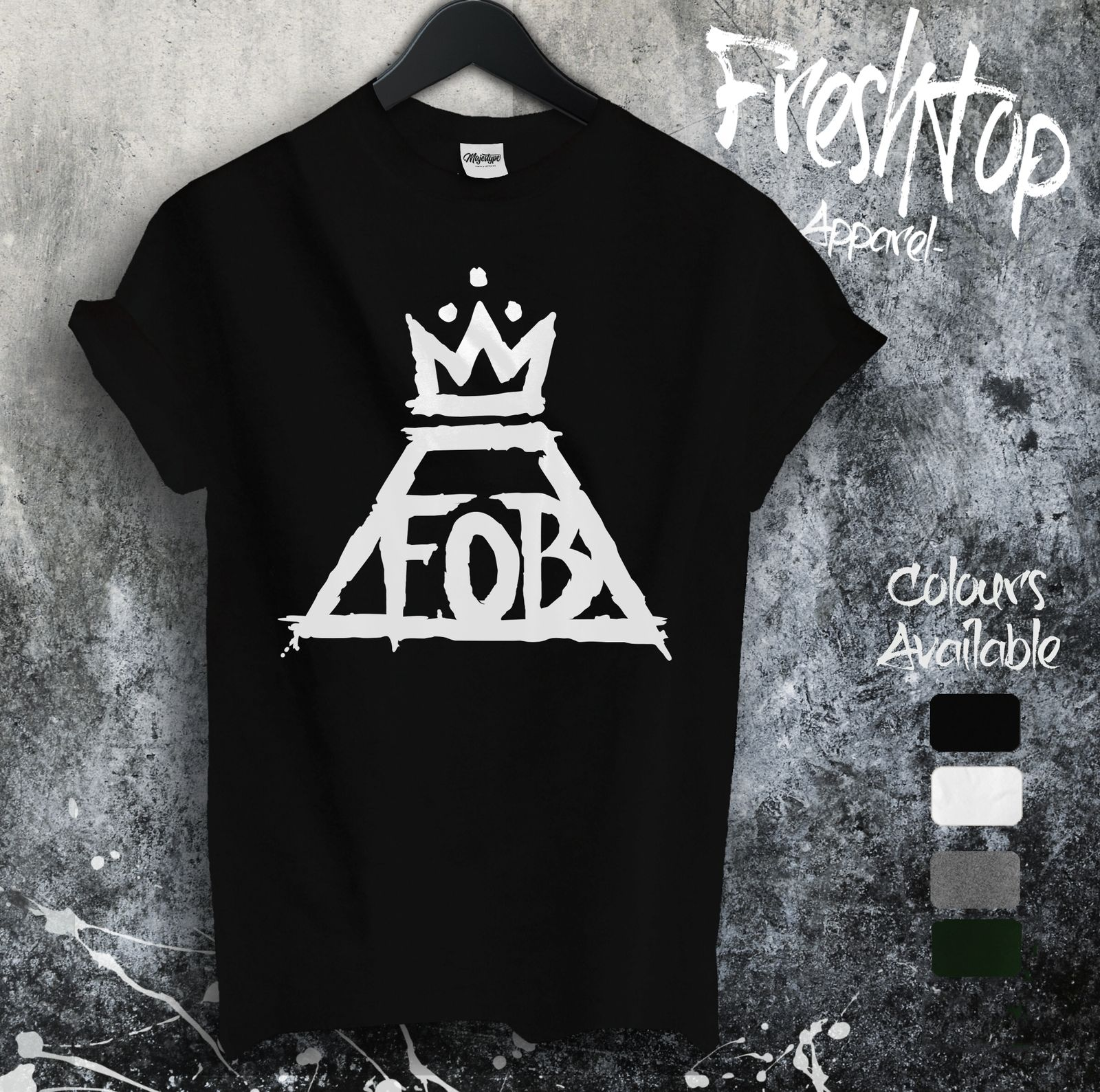 Gildan Fall Out Boy FOB T Shirt Rock N Roll Crown Patrick Stump Panic! At The Disco MenS T-Shirts Short Sleeve O-Neck Cotton