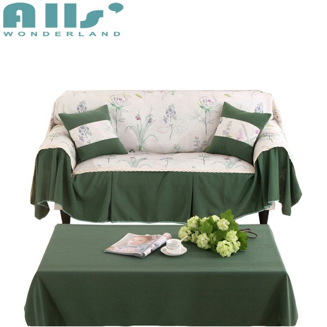 Green Fl L Shaped Sofa Cover Nordic Brief Couch Covers Slipcovers Folding