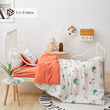 Liv-Esthete 2019 New 100% Cotton Dinosaur Party Kids Cartoon Blue Bedding Set Duvet Cover Pillowcase Bed Linen For Mom Baby 3Pcs