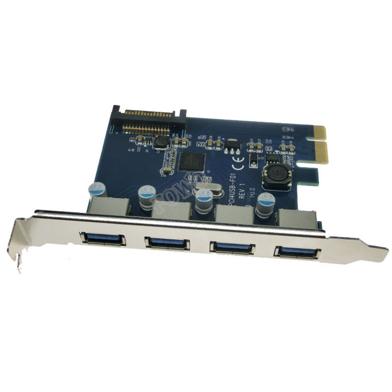 Chip Fresco FL1100 4 Ports USB 3 Card PCI-e Controller Expansion Adaptor USB 3.0 Adapter For Desktop With SATA Power