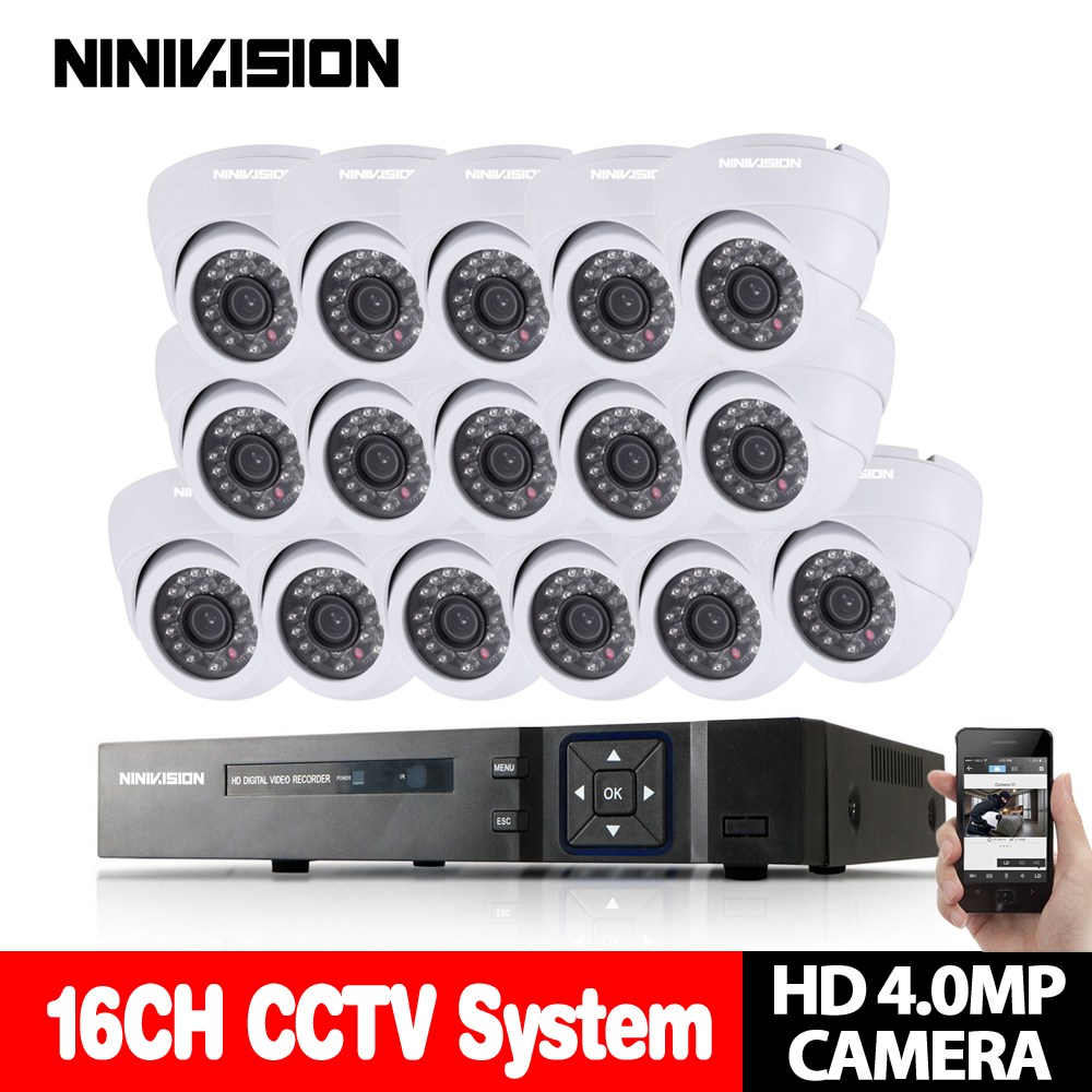 4.0P CCTV System 16CH Video Surveillance Kit for home 2k 1080P HDMI DVR 16PCS 2560*1440 4MP Dome in/outdoor Security Camera set home cctv surveillance system 16 channel dvr recording with 16pcs 700tvl dome security camera system cctv dvr kit 16ch ck 206