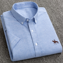 Nowy S do 6xl z krótkim rękawem 100% bawełna oxford miękkie wygodne regularny krój plus rozmiar jakości lato biznes mężczyźni koszule na co dzień