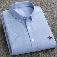 חדש S כדי 6xl קצר שרוול 100% כותנה אוקספורד רך נוח כושר רגיל בתוספת גודל איכות קיץ עסקי גברים מקרית חולצות