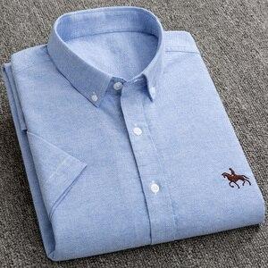 Image 1 - جديد S إلى 6xl قصيرة الأكمام 100% القطن أكسفورد لينة مريحة منتظم صالح حجم كبير جودة الصيف رجال الأعمال قمصان غير رسمية