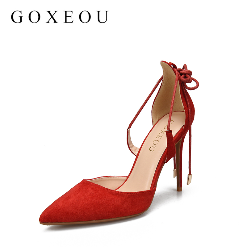 GOXEOUT High Heels Woman Sandals Summer Autumn Flock Shoes Ladies Pumps Sexy Thin Air Heels Footwear Lace Up Wedding Women  10cm new 2017 sexy point toe patent leahter high heels pumps shoes sandals pr1987 woman s red sandals heels shoes wedding shoes