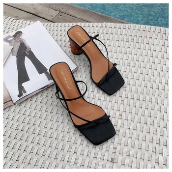 2019 Summer Elegant Women Narrow Band Slides High Heel Slippers Female Peep Toe Wood Block Heel Sandals For Party Shoes Slippers - Black, 6.5