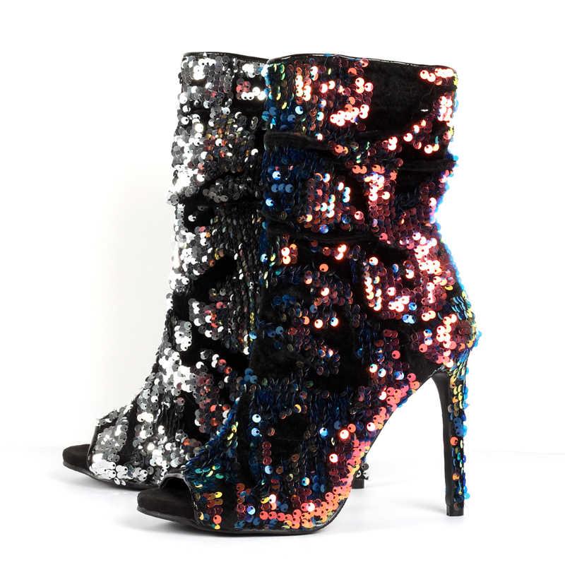Moda Bling Bling kısa çizmeler Madeni Pul Tasarımcı Kadın Platformu Peep Toe bileğe kadar bot Kadınlar Peep Toe Ince Yüksek Topuklu Sonbahar