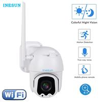 Inesun 2.5 Inch Mini PTZ WiFi Camera Outdoor HD 1080P Security IP Camera WiFi 4X Zoom Two Way Audio 165ft Night Vision Max 128G