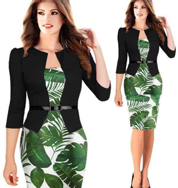 2018 Summer Autumn One Pieces Patchwork Print Floral Dress Elegant Business Party Formal Office Plus Size Bodycon Pencil Dresses