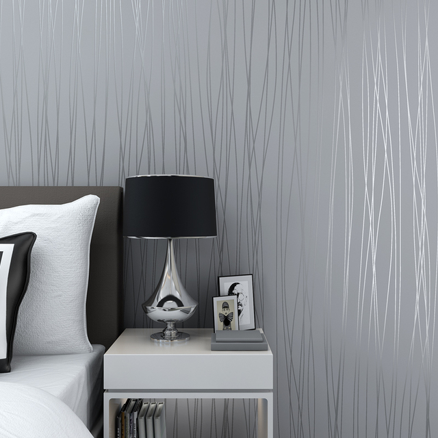 Hot Sale Beautiful Reflective Glitter Stripes Wallpaper Modern Elegant Solid Living Rooms 3D Wallpapers Grey Pink