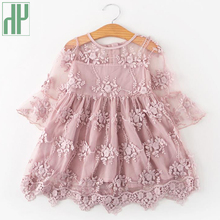 Children's Dresses Elegant Dress For Girls Dress Long Sleeve Kids Lace Flower Party Wedding Evening Dresses Princess Costume 2016 new wedding party flower lace dress for girls winter long sleeve baby clothes princess party costume kids dresses for girls