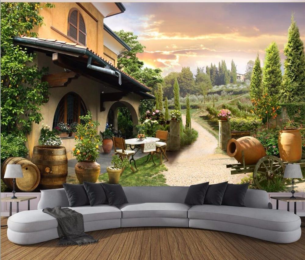 Personnalisé mural photo 3d papier peint villa vue sur le jardin image décoration de la chambre