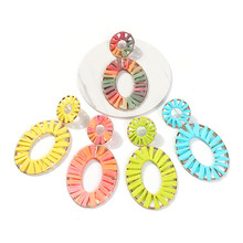 SEDmart 2019 Newest Fashion Jewelry Bijoux Rainbow Colorful Raffia Earring Big Oval Straw Statement Earrings for Summer