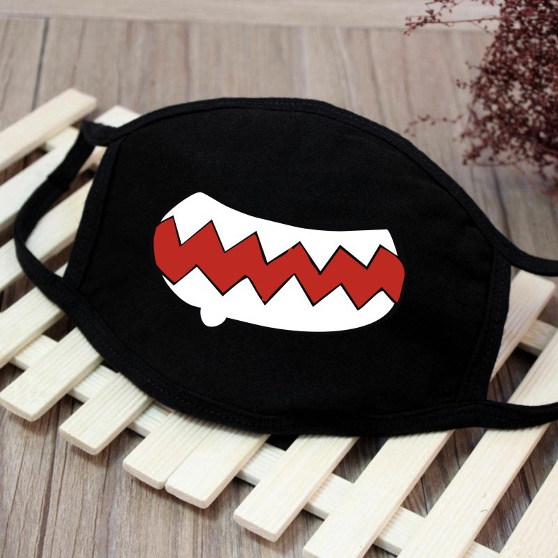 Funny Tooth Dust Mask Emoji Lips Fangs Cotton Mask Cute Unisex Cartoon Kpop Flu Mask Emotiction Masque Hot