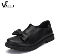 2016 VALLU New Arrival Women Shoes Flat Heels Genuine Leather Bowtie Round Toes Platform Black