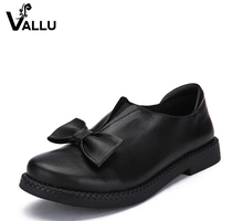2017 VALLU New Arrival Women Shoes Flat Heels Genuine Leather Bowtie Round Toes Platform Black Plus Size 10
