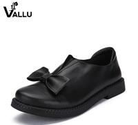 2016 VALLU New Arrival Women Shoes Flat Heels Genuine Leather Bowtie Round Toes Platform Black
