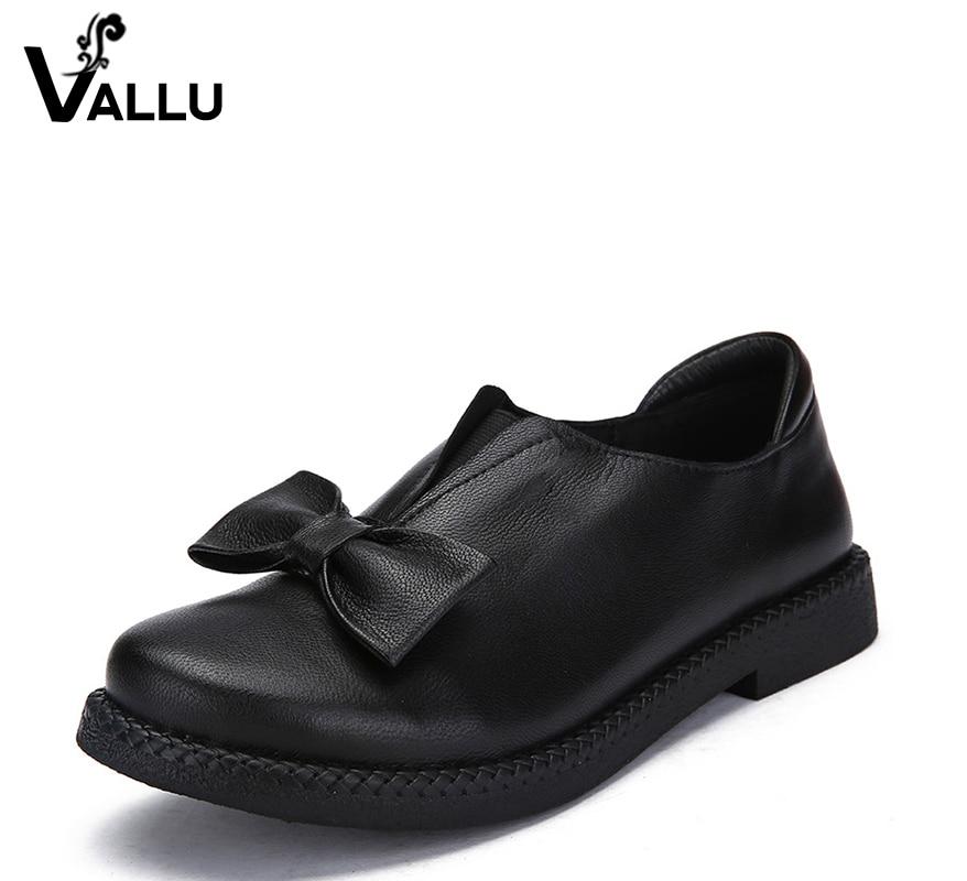 2018 VALLU Nueva llegada zapatos de mujer tacones planos de cuero - Zapatos de mujer