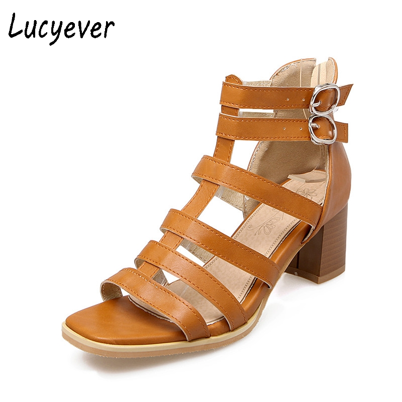 Lucyever Sexy Women Sandals Thick Heels Summer Gladiator Sandals Brand Design Fashion Buckle Brown Rome Shoes Woman Plus Size r r s stewart designing a campus for african american females
