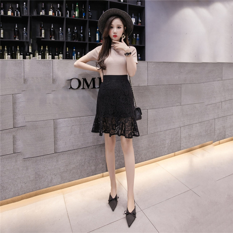Lace Skirt Female Spring And Summer 2019 New Han Fan Temperament Lady Hook Fiower Hollow Fishtail Skirt Chic Bag Hip Skirt XY873
