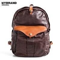 MYBRANDORIGINAL vintage genuine leather men shoulder bag women tanned leather multi function backpack 14inch laptop bag B135