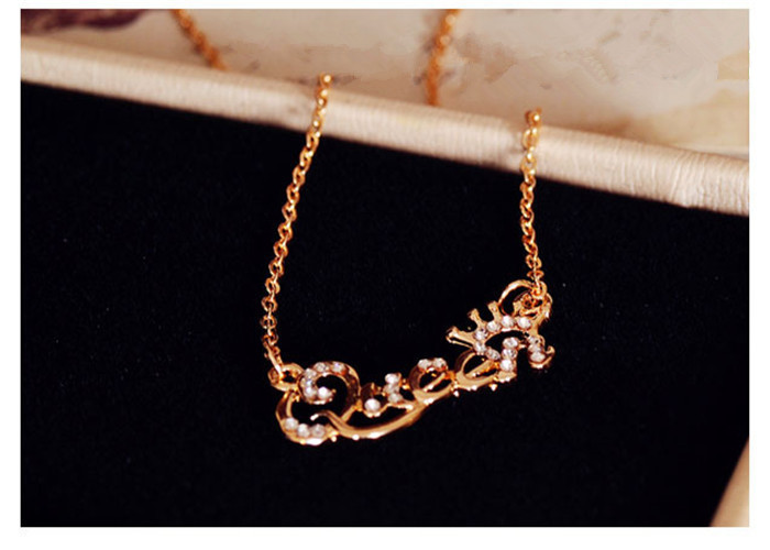 SHUANGR Luxury Gold-Color Queen Crown Chain Necklace Zircon Crystal Necklace Women Fashion Jewelry Birthday Present 5