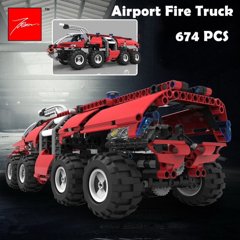 Model Building Blocks toys 20042 674Pcs The Airport Fire Truck compatible with lego Technic Series Educational DIY toys hobbies 0367 sluban 678pcs city series international airport model building blocks enlighten figure toys for children compatible legoe
